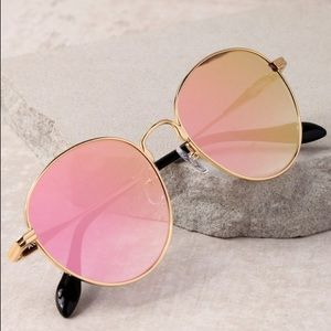 Sonix Ace Gold & Pink Mirrored Sunglasses